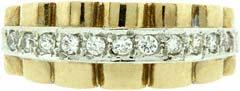 Rolex Style Link Diamond Set Dress Ring