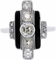 Diamond Dress Ring with Black Enamel