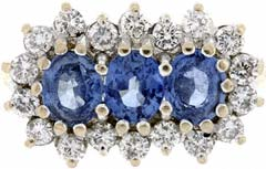 Second Hand Sapphire and Diamond Cluster