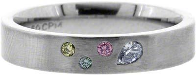 Enhanced Coloured Diamond Set Palladium Band