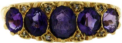 Amethyst and Diamond Five Stone Ring
