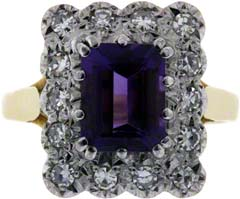 Amethyst and Diamond Cluster