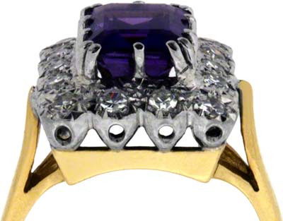 Octagon Amethyst and Diamond Cluster Ring