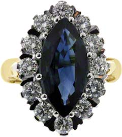 Marquise Sapphire and Diamond Cluster
