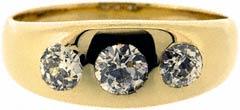 Gent's Three Stone Diamond Ring in 18ct Yellow Gold