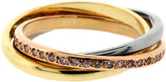 Natural Pink Diamond Set Wedding Band in 18ct Gold
