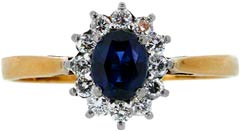 Oval Sapphire and Diamond Cluster