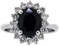 Sapphire and Diamond Oval Cluster
