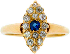 Sapphire and Diamond Marquise Cluster