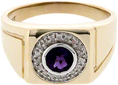 Gent's Amethyst and Diamond Set Signet Ring