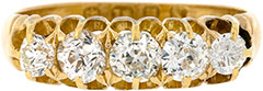Second Hand Five Stone Diamond Ring in 18ct Yellow Gold