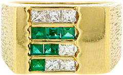 Gent's Emerald And Diamond Set Signet Ring