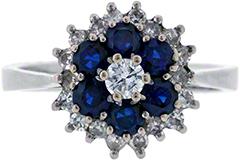 Three Tier Sapphire and Diamond Cluster