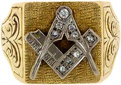 Diamond Set Masonic Signet Ring