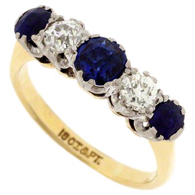 Sapphire And Diamond Five Stone Ring