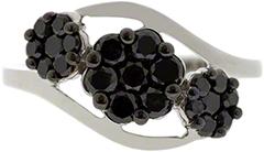 Black Diamond Triple Cluster Ring
