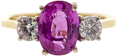 Pink Sapphire and Diamond Three Stone Ring