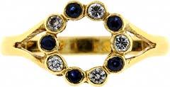Sapphire & Diamond Circular Cluster Ring