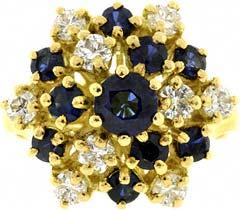 High Set Sapphire & Diamond 'Snowflake' Ring