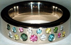 Multicoloured Diamond Wedding Ring