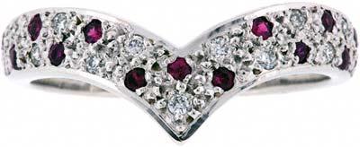Ruby and Diamond Wishbone Ring