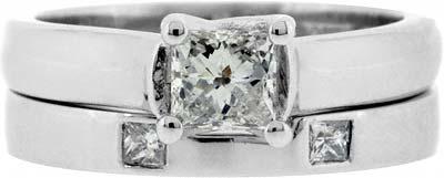 Diamond Set Wedding Band & Cut Out Band