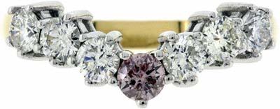 Pink and White Diamond Wishbone Ring