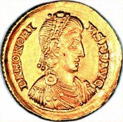 Obverse of Gold Solidus of Honorius