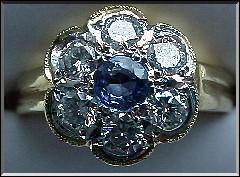 Victorian Style Round Sapphire Cluster