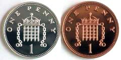 Reverse of Silver and Bronze Pennies