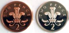 Reverse of Silver and Bronze Twopences