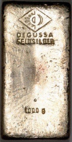 One Kilo Degussa Silver Bullion Bars