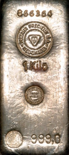 One Kilo Metaux Precieux Silver Bullion Bars