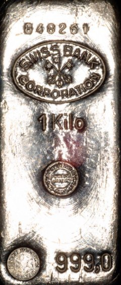 One Kilo Swiss Bank Corporation Silver Bullion Bars