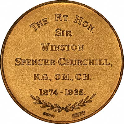 Reverse of 1965 Gold Medal by John Taylor