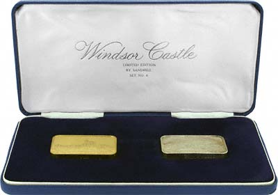 Pair of Gold & Silver of 1972 Windsor Castle Ingots in Box