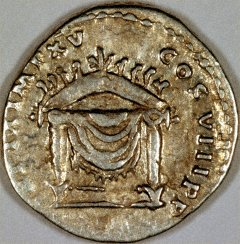 Throne on Reverse of Silver Denarius of Titus