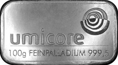 Umicore 100 Gram Palladium Bar