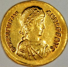 Portrait of Valentinian II on a Gold Solidus