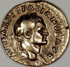 Portrait of Vespasian on Silver Denarius