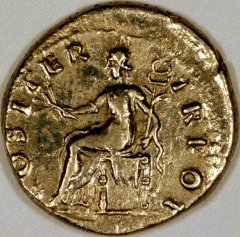 Pax Seated on Reverse of Vespasian Silver Denarius
