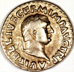 Portrait of Vitellius on a Silver Denarius
