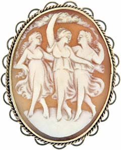 Second Hand 9ct Cameo Brooches