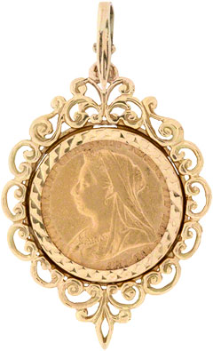 Second hand coin jewellery from chard jewellers online catalogue half sovereign pendants sovereign pendants aloadofball Images