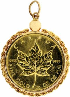 1985 Quarter Maple Gold Pendant