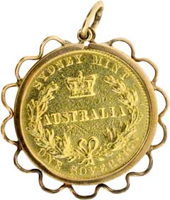 1863 Australian Sovereign Pendant