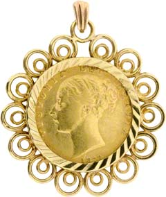 1872 Shield Soveriegn Pendant