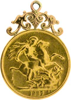 1887 Double Sovereign Pendant