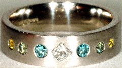 Gents Multicoloured Diamond Wedding Ring