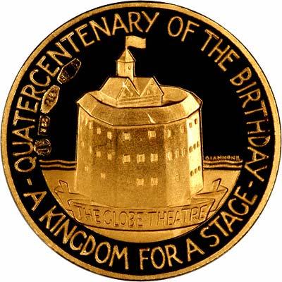 Reverse of 1964 William Shakespeare 400th Anniversary Gold Medallion